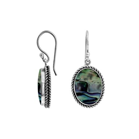 Oval Shell Earrings - AE-6212-AB Sterling Silver Oval Shape Earring With Abalone Shell