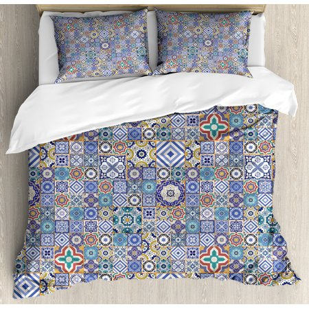 Moroccan Duvet Cover Set, Grid Style Squares Ornamental Geometric Elements Oriental Culture Illustration, Decorative Bedding Set with Pillow Shams, Multicolor, by Ambesonne ()