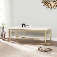 Ocorrd Gold Upholstered Entryway/Dining Bench, Ivory and Gold