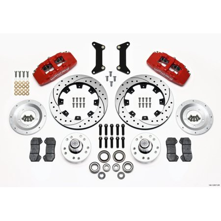Wilwood Dynapro 6 Front Hub Kit 12.19in Drilled Red 79-87 GM G