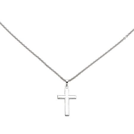 Primal Gold 14 Karat White Gold Latin Cross Pendant with 18-inch Cable Chain