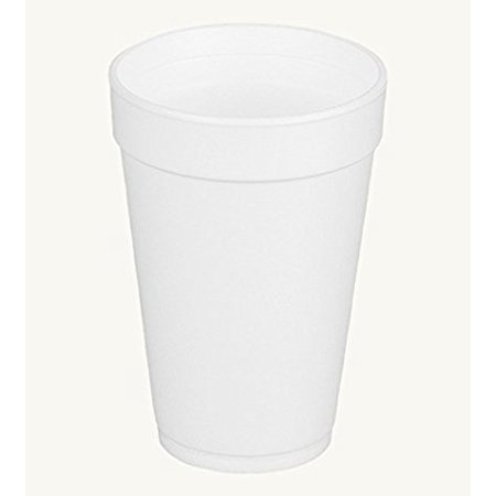 Dart 16J16, 16 Oz. White Foam Cup and White Plastic Cup Lid With Reclosable Tab, Customizable Disposable Hot and Cold Drink Tea Coffee Cups (100)](Customizable Cups)