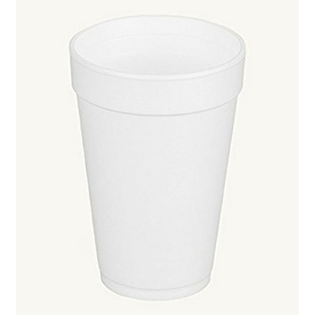 Dart 16J16, 16 Oz. White Foam Cup and White Plastic Cup Lid With Reclosable Tab, Customizable Disposable Hot and Cold Drink Tea Coffee Cups (100)