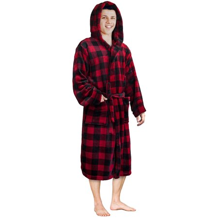 Mens Plush Fleece Robe with Shawl Collar | Soft, Warm, Lightweight Spa Bath - Mens Hooded Robes