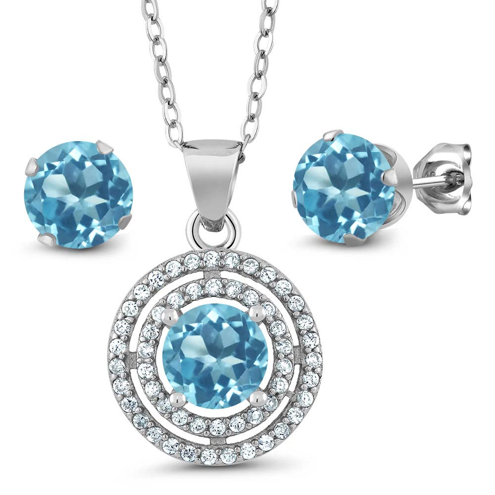 3.64 Ct Round Blue Topaz 925 Sterling Silver Pendant Earrings Set 18""