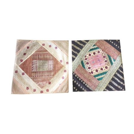 Mogul Ethnic Silk Sari Cushion Cover Vintage Patchwork Square Pillow Cases 16