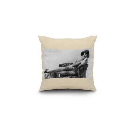 Pin Up Girl Reclining on Couch 16x16 Spun Polyester Pillow White Borde