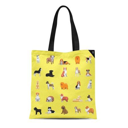 Dog Breed Tote - ASHLEIGH Canvas Tote Bag Afghan Various Dog Breeds Hound Akita Australian Shepherd Durable Reusable Shopping Shoulder Grocery Bag