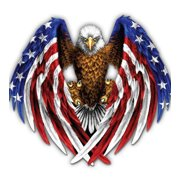 American Eagle Bald Eagle Patriotic - Large Size Vinyl Sticker Decal - for Truck Car Cornhole Board Sticker 16""
