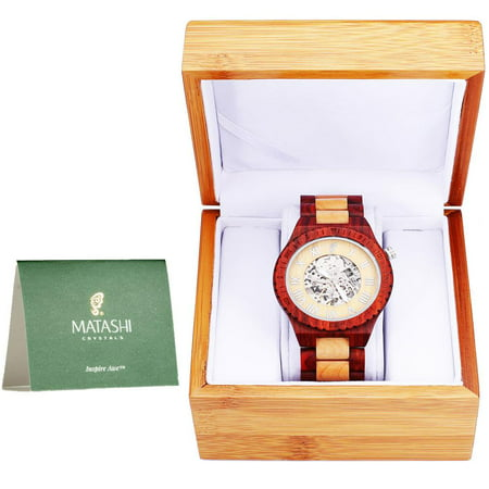 Mens Automatic Wooden Watch, Red Salwood and Maple, Japanese Movement, Business Casual, 1ATM Water Resistant
