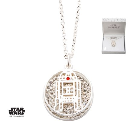 Star Wars Silver Plated R2D2 with Clear Gem Double Pendant
