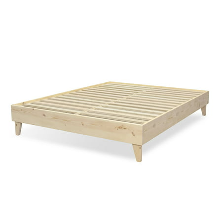 Regency 100% North American Pine Wood - Platform Bed Frame - Tool-Free Assembly - Natural - No Finish ()