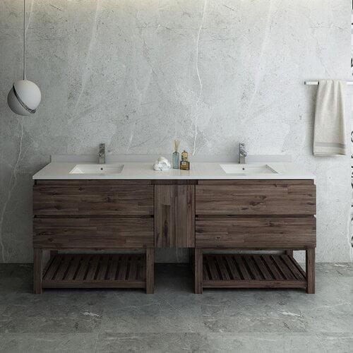 Fresca Formosa Floor Standing Open Bottom 84 Double Bathroom Vanity Set Walmart Com Walmart Com