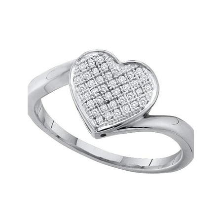 10kt White Gold Womens Round Diamond Heart Love Cluster Ring 1/10 Cttw - image 1 de 1