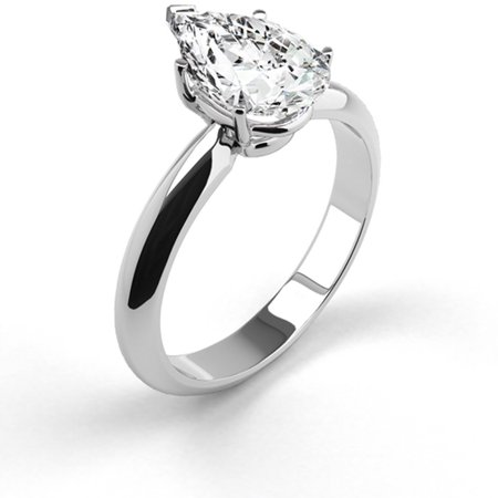 Platinum Diamond Engagement Ring Natural 1.07 Carat Weight Pear Shaped G