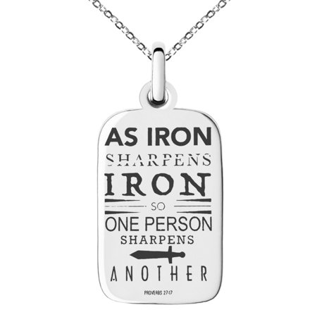 Stainless Steel As Iron Sharpens Iron Proverbs 27:17 Engraved Small Rectangle Dog Tag Charm Pendant Necklace