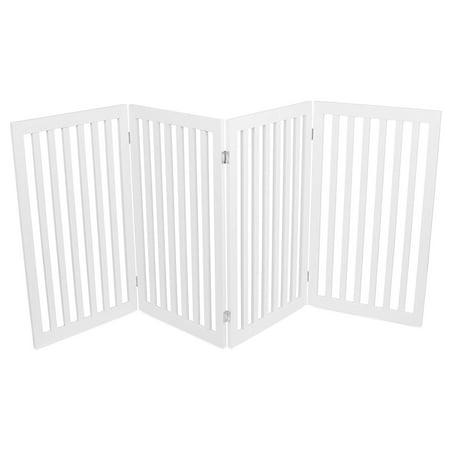 Internet's Best Traditional Pet Gate | 4 Panel | 36 Inch Tall Fence | Free Standing Folding Z Shape Indoor Doorway Hall Stairs Dog Puppy Gate | White |