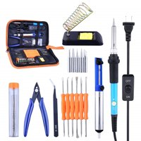 Full Set 60W 110V Electric Soldering Iron Kit with Adjustable Temperature Welding Iron, 5pcs Tips, Desoldering Pump, 2pcs Tweezers, Tin Wire Tube, Stand and 6pcs Aid Tools in PU Carry Bag