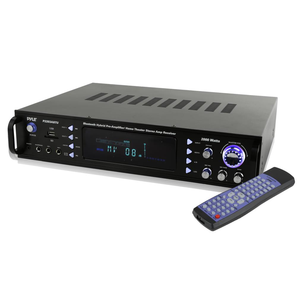 Pyle P2203ABTU - Bluetooth Hybrid Pre-Amplifier, Home Theater Stereo Amp Receiver, USB/SD/MP3/AUX/AM/FM, 2000 Watt