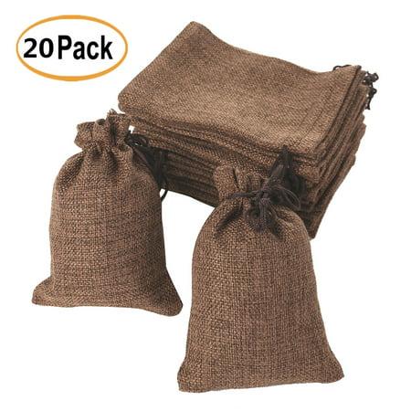 20pcs 5 X4 Small Jute Hessian Burlap Bags Drawstring Sack For Wedding