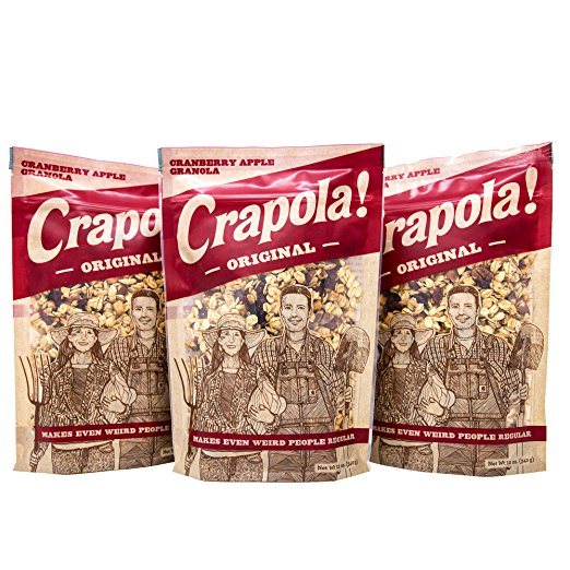 Granola Cereal by Crapola - Low carb natural Granola with fruit and protein for a Healthy Breakfast (Crapola, 3 bags)