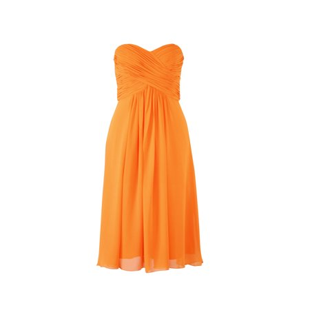 Faship Womens Elegant Strapless Pleated Sweetheart Neckline Formal Dress Orange - (Bcbg Max Azria Pleated Strapless Dress)