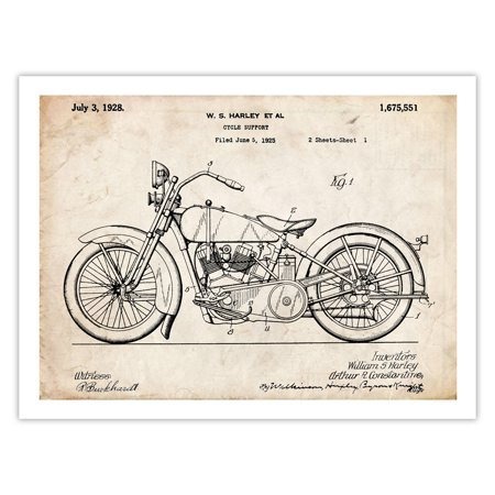 Harley Davidson Motorcycle Poster 1928 Patent Art Handmade Giclée Gallery Print Parchment (18