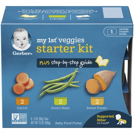 Gerber My 1st Veggies Baby Food Starter Kit 2 oz Tubs , 6 Count (Pack of 2)