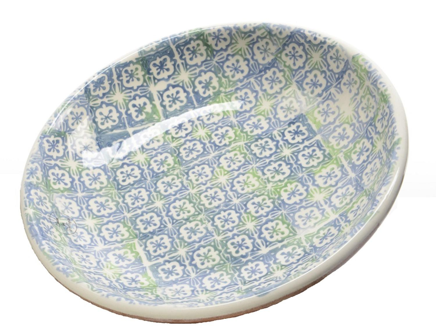 "12.25"" French Countryside Decorative Blue Flower and Green Cross Round Terracotta Bowl by Kaemingk"