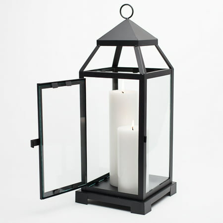 Richland Black Contemporary Metal Lantern with Clear Glasses - Large - Large Black Lanterns