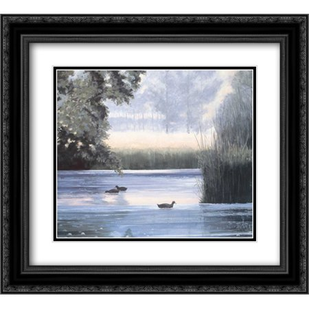 Water base II 2x Matted 22x20 Black Ornate Framed Art Print by Heigl, Franz