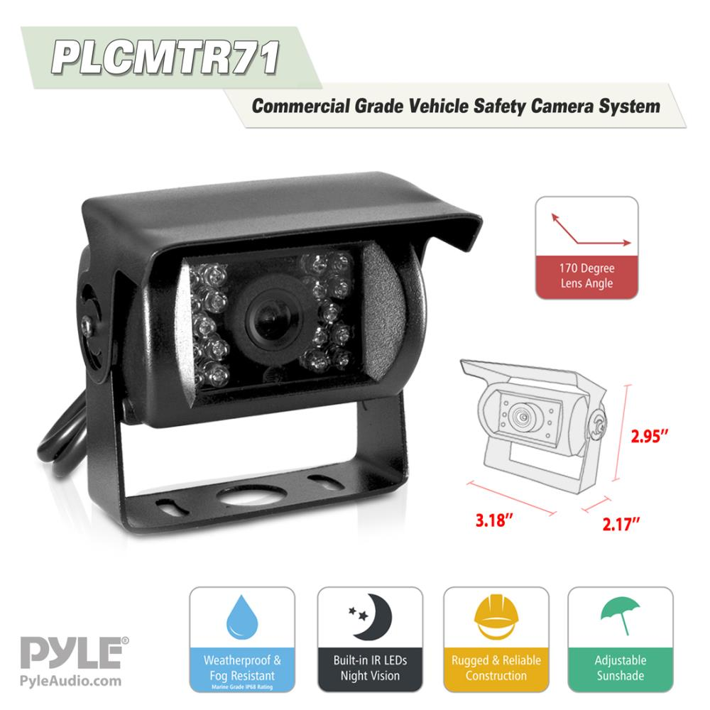Pyle Plcmtr71 Weatherproof Rearview Backup Camera System Kit With Walmart Car Wiring Harness 7 Lcd Color Monitor Ir Night Vision Dual Dc Voltage 12 24 For Bus Truck