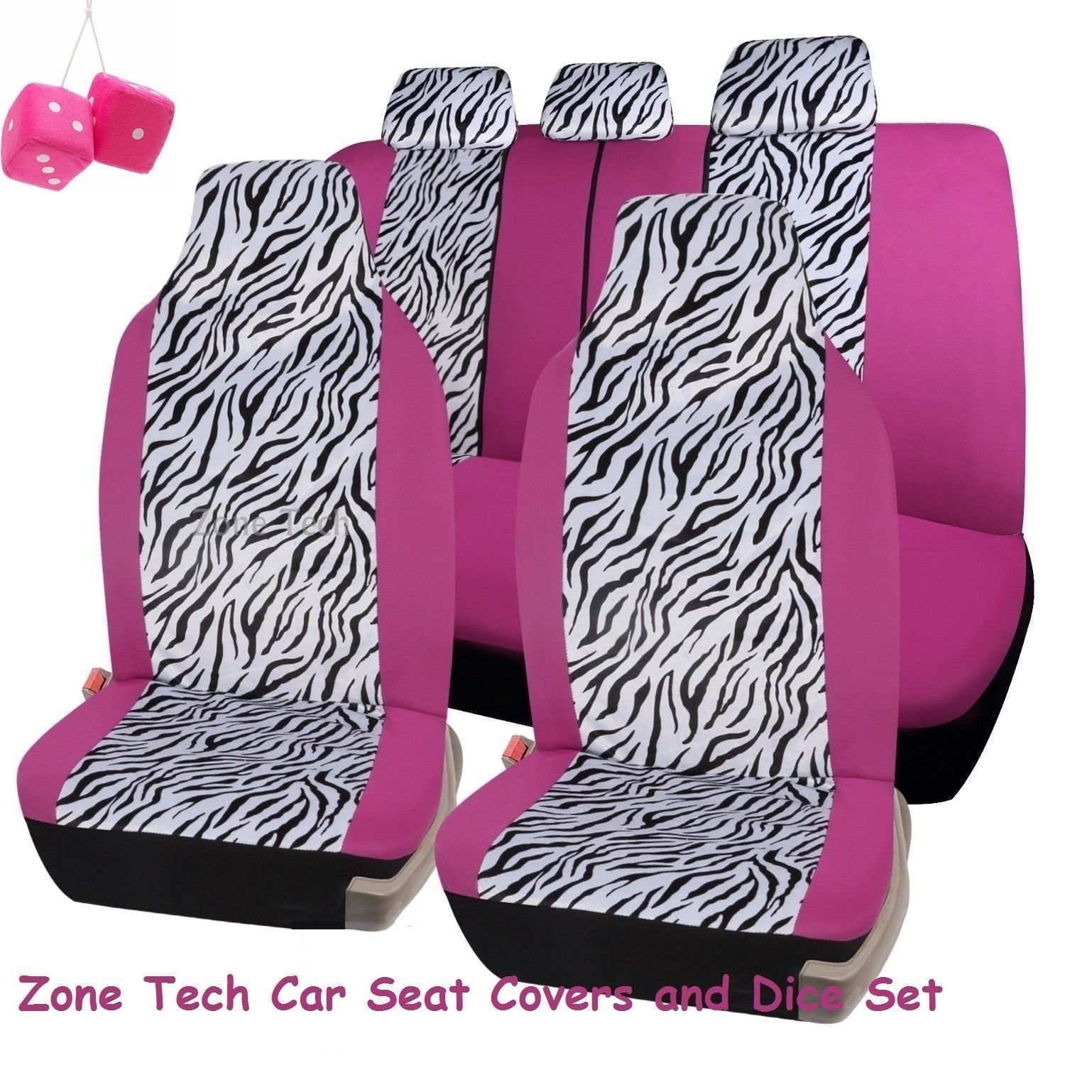 Zone Tech Universal Fit Premium Quality 100% Waterproof Breathable 7 Piece Pink and Zebra Seat Cover Set + Pair of Pink Plush Hanging Fuzzy Dice Set