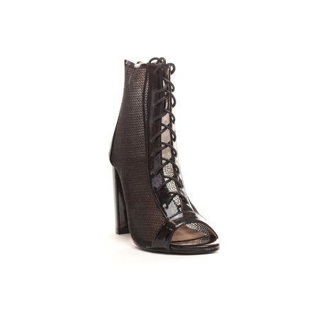 d76906b90 Soho Shoes - Women's Lace up Mesh Peep Toe Booties Ankle Boots - Walmart.com