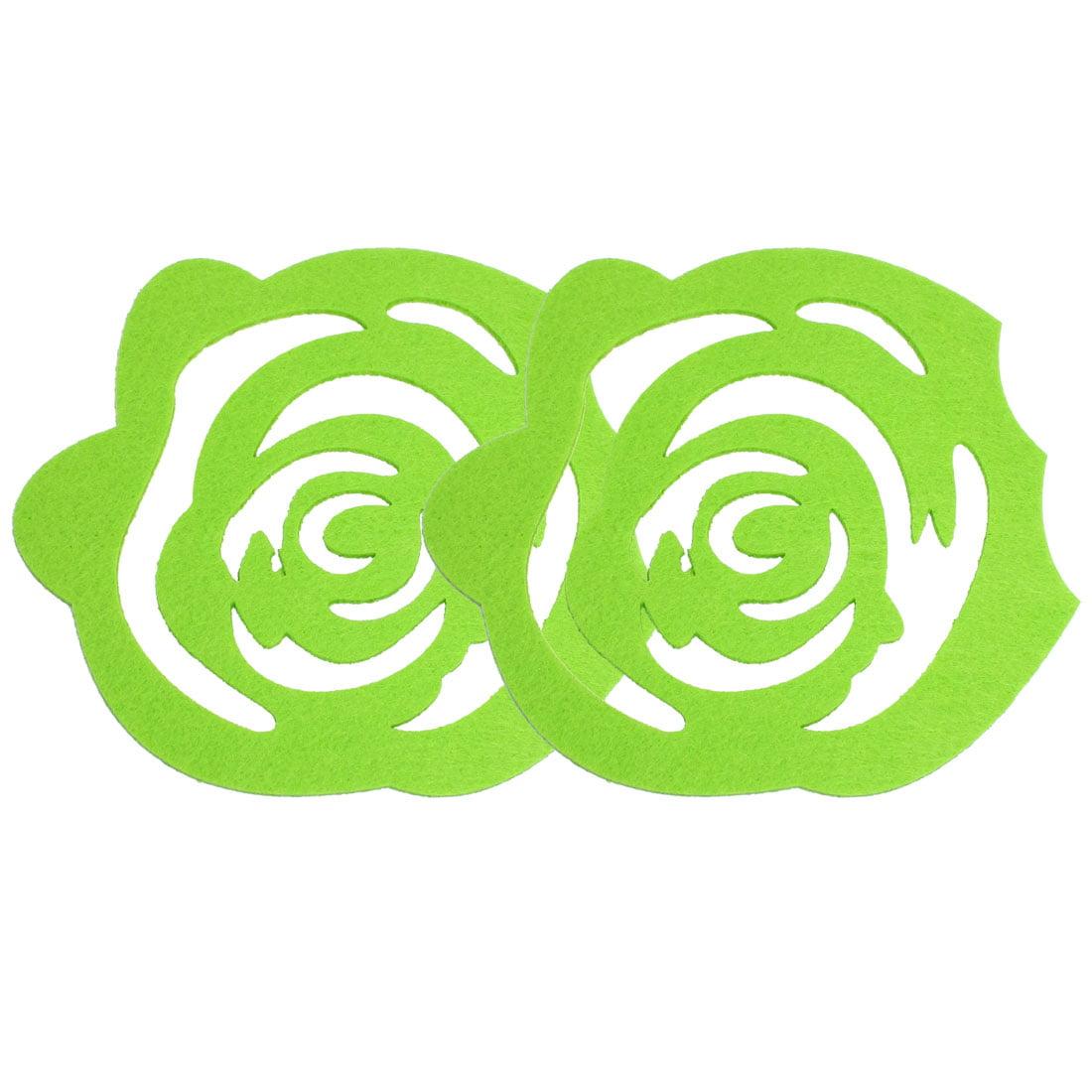 Green Kitchen Cup Heat Insulation Coaster Felt Mat Pad 2 Pcs