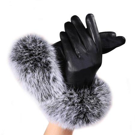 Women Lady Black Leather Gloves Autumn Winter Warm Rabbit Fur Mittens