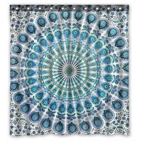 GCKG Indian Mandala Blue Peacock Waterproof Polyester Shower Curtain Bathroom Deco 66x72 inches