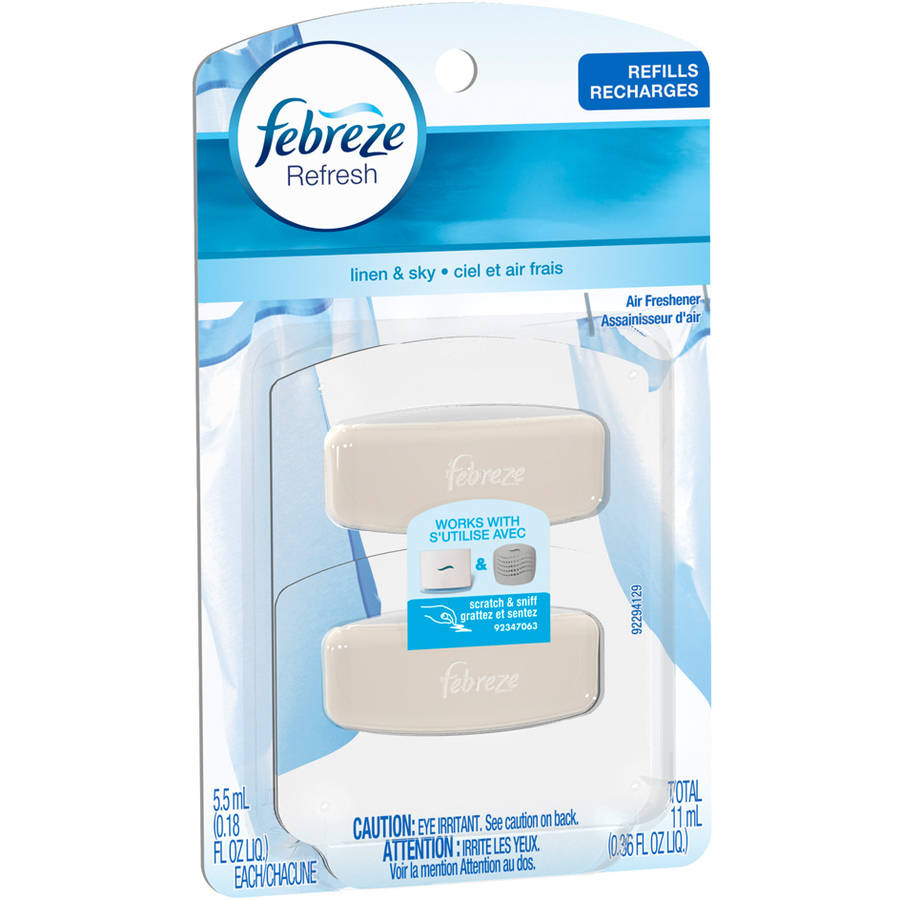 Febreze SmallSpaces Linen & Sky Air Freshener Refills, 0.18 fl oz, 2 count