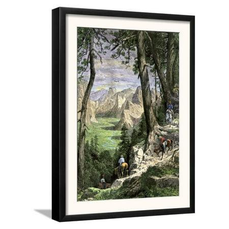 Horseback Riders Descending into Yosemite Valley, 1870s Framed Art Print Wall Art