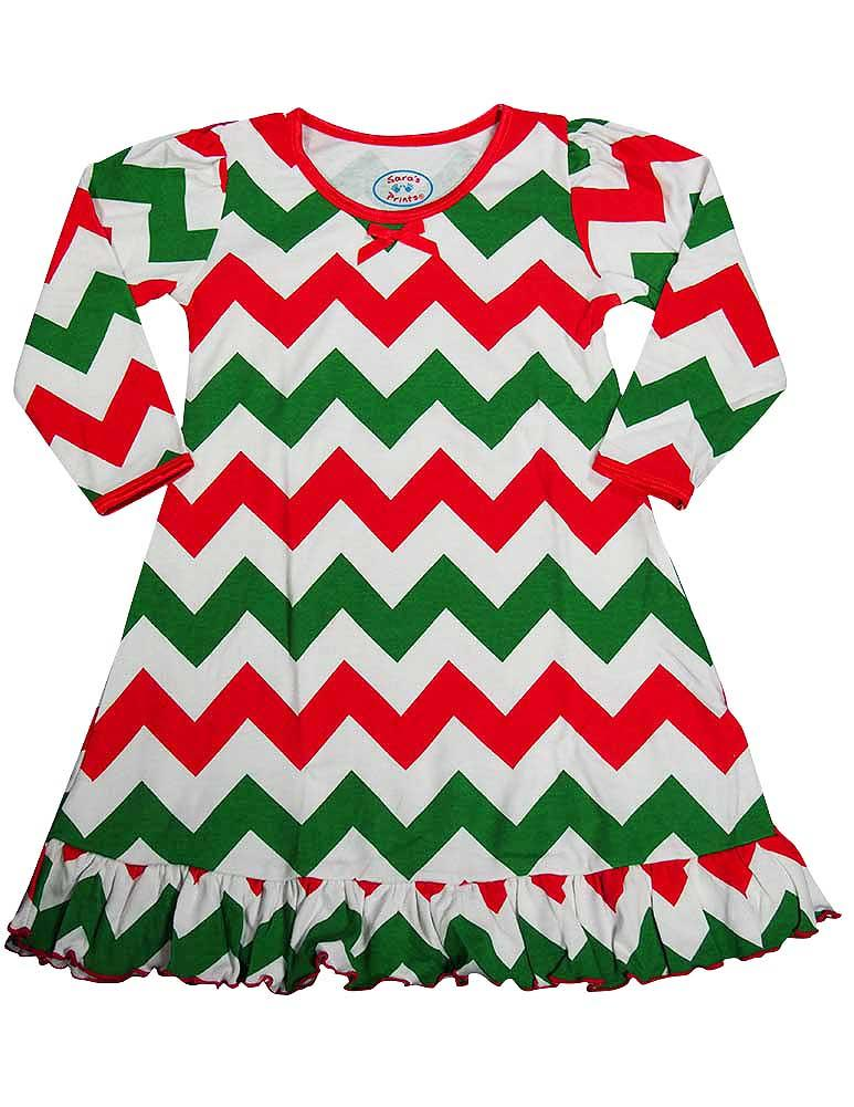 Saras Prints Toddler Girls Long Sleeve Gown Multi Prints Ruffle Flame Resistant, 32735 Green/Red Chevron / 3