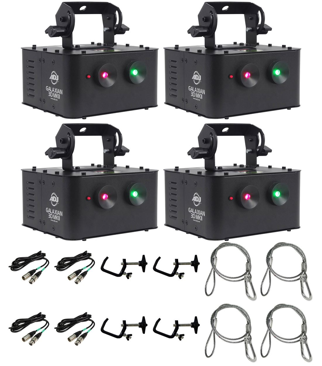 (4) American DJ GALAXIAN 3D MKII Laser Light + Clamps + Security + DMX Cables by American DJ