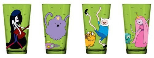 Adventure Time Set of 4 Green Drinking Pint Glasses by Adventure Time