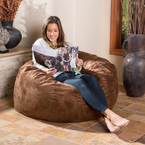 Christopher Knight Home Lillian Faux Suede 4-foot Lounge Beanbag Chair Brown Beanbag