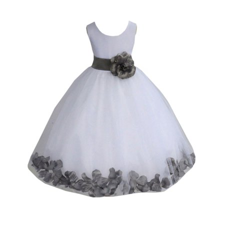 Ekidsbridal Satin White Mercury Tulle Petal Christmas Party Bridesmaid Recital Easter Holiday Wedding Pageant Communion Princess Birthday Clothing Baptism 302S size 6-9 month Flower Girl Dress