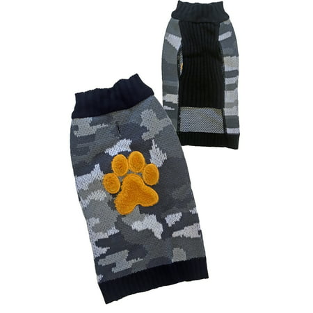 Camo with Paw Applique Dog Sweater, Gray/Yellow, Medium