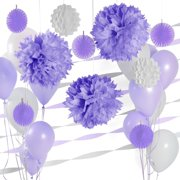 Party Decoration Kit - Purple and White Party Supplies
