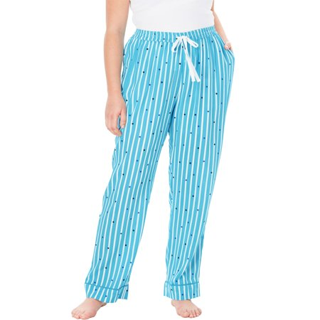 Dreams & Co. Plus Size Convertible Cotton Pj Pant - Plus Size Animal Onesies