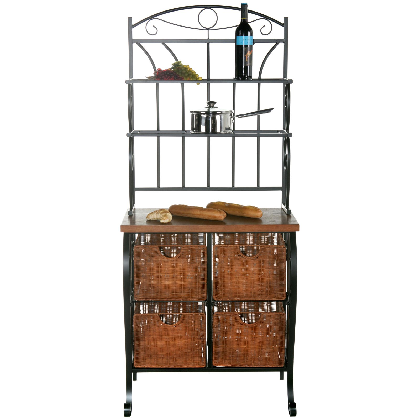 Iron/Wicker Baker'S Rack
