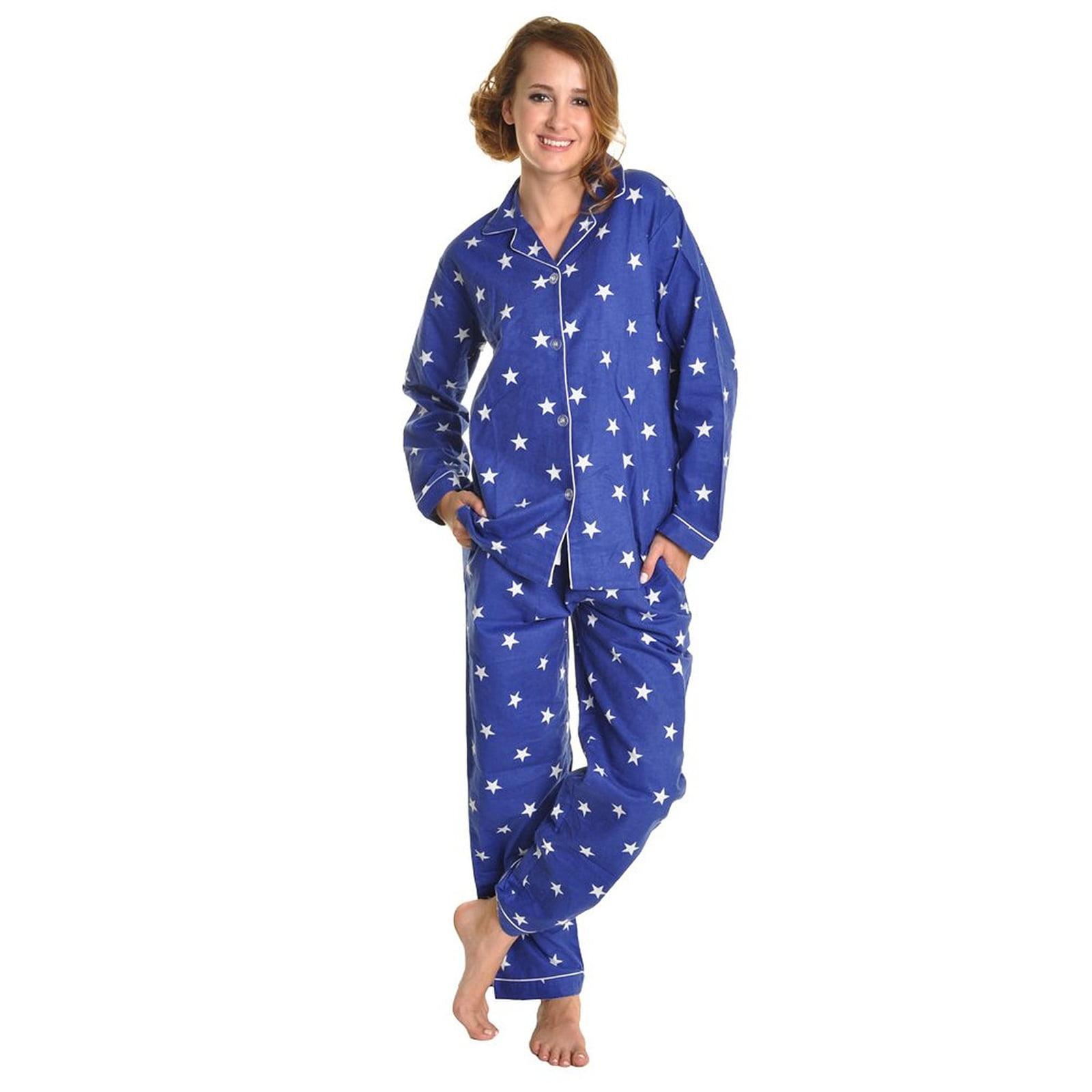 Women Cotton Flannel Loungewear Sleepwear Pajama Set