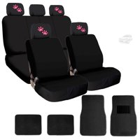 New 4X Pink Paws Logo Headrest Covers Black Fabric Seat Covers And Carpet Floor Mats - Shipping Included